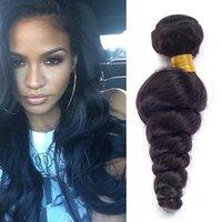 Virgin Peruvian Hair Weave Extensions de Cheveux 8 '' - 28 '' Loose Wave 3Pcs / Lot Naturel Noir Peut être teint Pas de Tangle Hair Extension Weft Remy