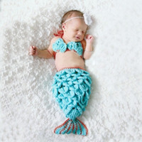 baby model photos - Cute Mermaid Baby Kids Photography Sets Props Hand Knit Photo Clothes Christmas Model Set Toddler Costume Newborn Crochet Sets A5615