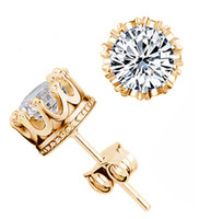 Wholesale 18K Rose Gold Plated Earrings Classic Prongs mm ct Round Big CZ Diamond Post Stud Earrings Jewelry