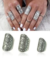 Wholesale Bohemia Vintage Rings for Women Carved Antique Silver Punk Turkish Rings Beach Boho Jewelry Carving Tibetan Ring Set Set
