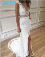 beach wedding dress patterns - Special Lace Pattern V neckline Open Low Back Waistline Bead Front Split Lady Slim Wedding Dresses