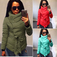 ladies quilted winter coat - Winter Warm Womens Ladies Coat Long Sleeve Cotton Quilted Jackets Irregular Outwear Waist Tied Parka Overcoat