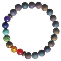 Wholesale Matte Bracelet Men Women Chakra Healing Balance Beaded Bracelets Lava Yoga Reiki Prayer Stone Unisex Pop Jewelry Gift