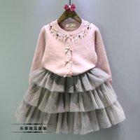 Wholesale Female child cardigan autumn child pearl o neck bow elegant gentlewomen coat