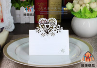 Wholesale Fashion white Seat Name Cards Laser Cut for Wedding Party Decoration Multi color Love heart shape wedding table card seat card