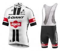 Wholesale TOUR DE FRANCE GIANT Alpecin TEAM WHITE Short Sleeve Cycling Jersey Bike Bicycle Wear BIB Shorts Size XS XL