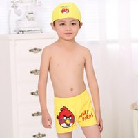Wholesale 20 Pieces New cartoon angry birds pattern boy swimming trunks boxer swimming wear with caps