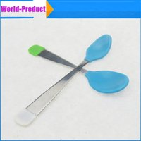 baby silver feeding spoon - 2016 Baby spoon children s dishes Baby feeding spoon silver utensils Silicone tableware
