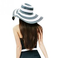 Wholesale New Womens Hat Wide Brim Soft Felt Bowler Stripe Fedora Straw Braid Hat Floppy Cloche Cap Beach Casual Sun Hat Summer Cap QJ