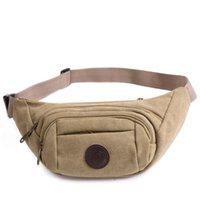 Wholesale New Men Canvas Zipper Pockets Fanny Pack Chest Waist Bag Casual Phone Bag