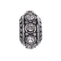 Wholesale Best Price Brand New Clear Brithstone Antique Silver Plated European Beads Brithstone Beads