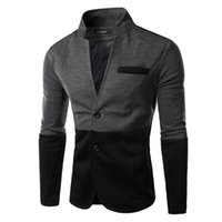 Wholesale TUNEVUSE2016 New Fashion Man Casual Two Button Blazer Splice Stand Collar High Quality Men s Suit Outerwear Coat