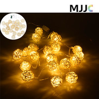 battery led lights for homes - Warm White Rattan Ball String Fairy Lights LED For Xmas Wedding Party Christmas Halloween Home Decoraction