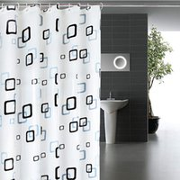 Wholesale Classic Modern Plaid Pattern m Thick Waterproof PEVA Shower Curtain Bathroom Curtain With Hooks
