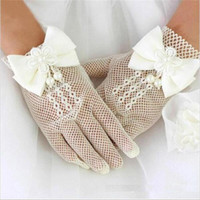 Wholesale Kids child Occasion flower girls gloves bow lace princess girl net yarn gloves for party performance little lady girl gloves