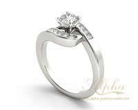 asymmetry design - Unique classic design halo diamond solid sterling silver asymmetry shape stylish cut engagement ring for her BER0522