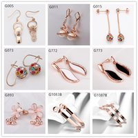 alphabet shoes - Hot sale pairs mixed style women s Leaves shoe ball crystal gemstone k rose gold earring GTG17 rose gold Dangle earrings