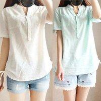 Wholesale 2016 Korean Fashion Women s Loose Cotton Blend blouses Tops short Sleeve Shirt Casual Blouse