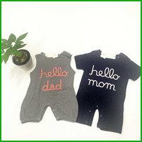 baby girl dad - hello mom baby boys rompers hello dad baby girls rompers newborn letters print factory killing price infant toddler outfits free shiipping