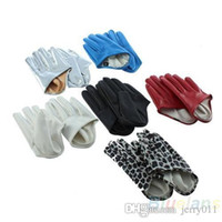 Wholesale Hot Sale Sexy and The City Faux Leather Women s Five Finger Half Palm Gloves Colors Leopard D7