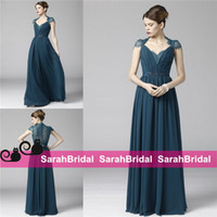 ink ribbon - Ink Blue Queen Anne Neck Chiffon Evening Dresses with Bow Beaded Belt kate middleton Celebrity Style Special Occasion Prom Party Gowns