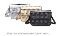 Wholesale 2016 fashion edition rivets bag color black gold silver