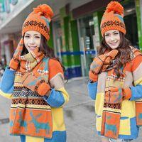 Wholesale Fashion winter woman warm scarves snow wool knitted hats deer pattern cute woman hat scarf set hat scarf set