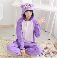 Wholesale Cute Sailor Costumes For Women - Anime Sailor Moon Luna Purple Cat Diana Pajamas Cotton Onesie Hoodie Costume Cosplay Cute Style For Adult Women Men