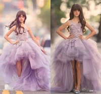 Wholesale Cheap Princess Ball Gown Dresses - New 2017 Girls Pageant Dresses Princess Tulle High Low Length Lace Appliques Lilac Kids Flower Girls Dress Ball Gown Cheap Birthday Gowns