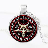 baphomet necklace - Vintage Bronze pentagram pendant necklace red goat head pendant necklace jewelry Gothic Satanism Baphomet jewelry Necklace