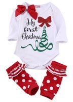 baby clothes christmas gift - Quality Christmas baby girls clothing Birthday party gift clothes baby rompers Long sleeve leg warmer set Cute Bow dots autumn