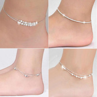 Silver Plate/Fill balls bracelets - Silver Anklets Bracelets Hot Sale Link Chain Anklet For Women Girl Foot Bracelets Fashion Jewelry WH