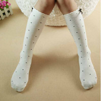 Wholesale 2016 Girls Long Knee High Socks Solid Hollow Cotton with Bow Princess Baby White Black Socks Children Foot Warmer Kids Knee Socks