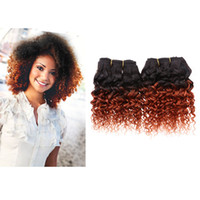 Brazilian Hair ombre curly hair - 2pcs Human Hair Extensions g pc inch Afro Kinky Curly Human Hair Short Size Hair