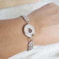 american jewlery - 2016 fashion snap bracelets silver plated with crystal metal bracelet button jewlery for women