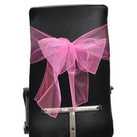 Wholesale Chair Covers And Bows Packet Strips Beautiful Chair Sashes Yarn Pink For Wedding Party cm x275cm