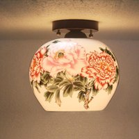 antique shell lamp - Antique Beautiful Jingdezhen Egg Shell Porcelain Light For Dining Room Bedroom Hotel Ceiling Lamp Chinese Ceiling Lights