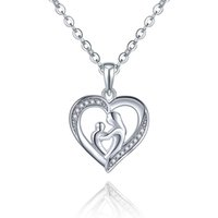 best mothers - 925 Sterling Silver Heart Necklaces Pendant for Mom Mothers Day Best Gift Shape Heart for Mother Child Pendant for Love DP40820A
