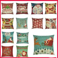 Wholesale 18 quot Merry Christmas Series Cushion Cover Santa Claus Christmas Tree Christmas Gifts And Snowman Printing Throw Pillow Pillowcase