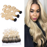 Cheap 9A Brazilian Body Wave Virgin Hair With Lace Frontal Ombre Color #1B 613 Ear To Ear Full Lace Frontal With Human Hair Bundles