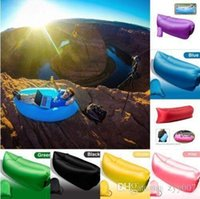 Wholesale 1 Fast Inflatable Sofa Sleeping Bag Outdoor Air Sleep Sofa Couch Portable Furniture Sleeping Hangout Lounger Inflate Air Bed DHL Free