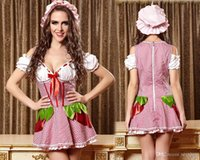 adult cutting - Sweet Halloween Red Strawberry Girl Sexy Costume Adult Cute Fancy Dress Cotton Women Low cut Plaid Suspender Skirt French Maid Anime Dress
