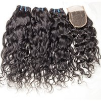 Wholesale 8A Brazilian Hair Water Wave Bundles With Closure Unprocessed Brazilian Water Wave Human Hair Weave With Lace Closure