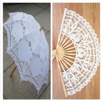 belgian lace - Belgian Wedding Lace Parasols And Fan Bridal Umbrella Wedding Set White Wedding Bridal Umbrellas White Lace Fan Umbrella