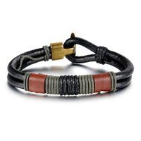 Wholesale Hot Sale Fashion New Men s Leather Bracelet Retro National Style Vintage Bracelet Charm Bracelets for Clothing