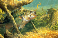 bass fish pictures - Bass Fishing Lake Sunset Painting Poster Art Silk Fabric Print Picture