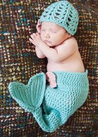 Wholesale Baby Crochet Mermaid Costume Set Cocoon with Flower Headbands Baby Infant Photo Props set