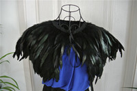 Wholesale 4 ply Black feather Collar Shrug Cape feather shawl feather shrug cape feather shoulder feather jacket