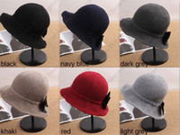 Wholesale New Folding Bucket Hats Warm Knitted Vintage Women Wide Brim Hats With Bow Knot Top Hat Elegant Fashion Design Colors