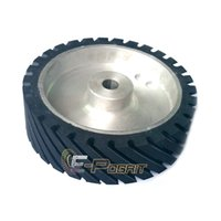 aluminum polishers - 250 mm Grooved Rubber Contact Wheel Dynamically Balanced Belt Sander Polisher Grinder Wheel Sanding Belt Set